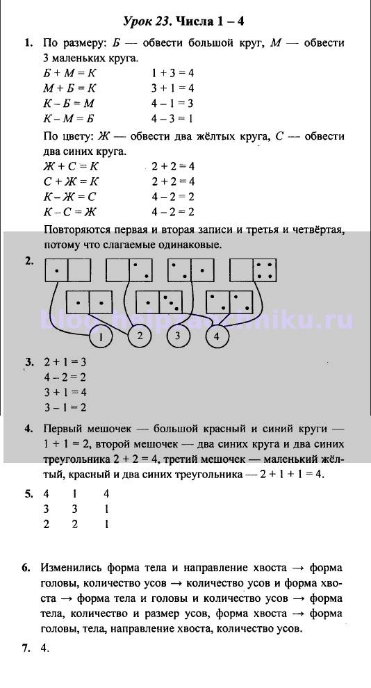 ГДЗ (решебник) математика Л. Г. Петерсон 1 класс 1 часть урок 23