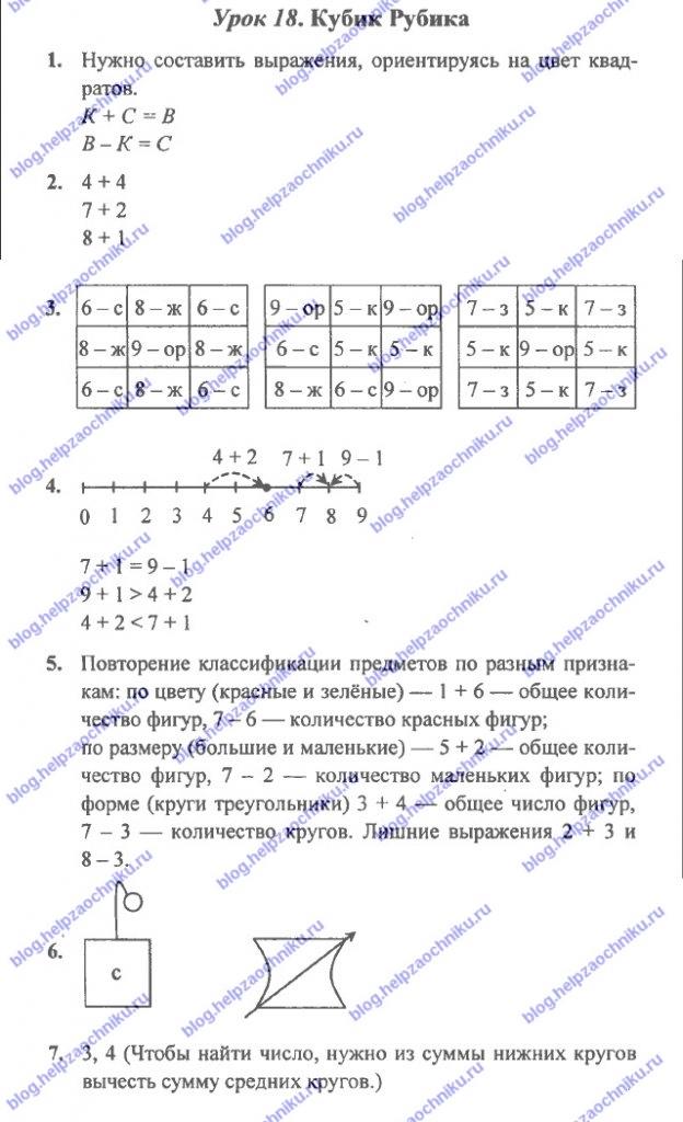 ГДЗ (решебник) математика Л. Г. Петерсон 1 класс 2 часть урок 18