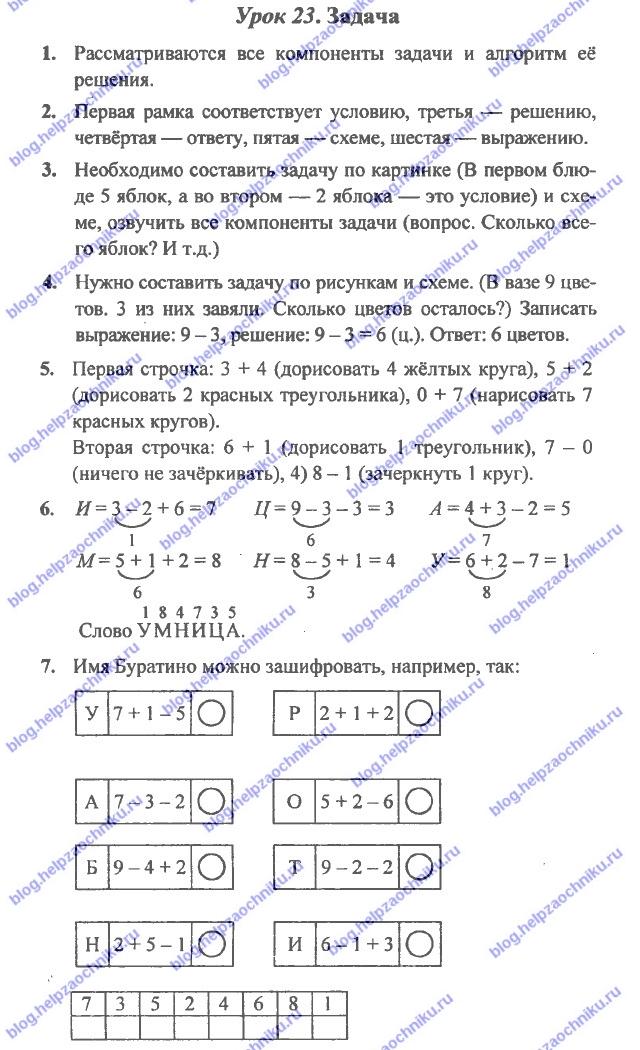 ГДЗ (решебник) математика Л. Г. Петерсон 1 класс 2 часть урок 23