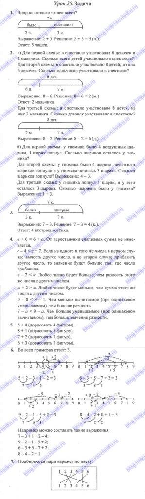 ГДЗ (решебник) математика Л. Г. Петерсон 1 класс 2 часть урок 25