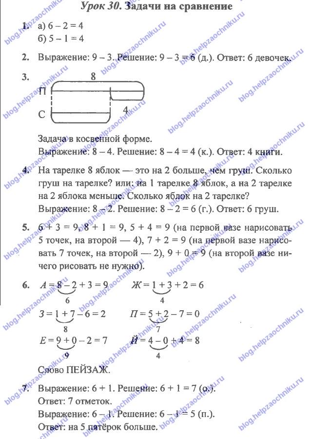 ГДЗ (решебник) математика Л. Г. Петерсон 1 класс 2 часть урок 30