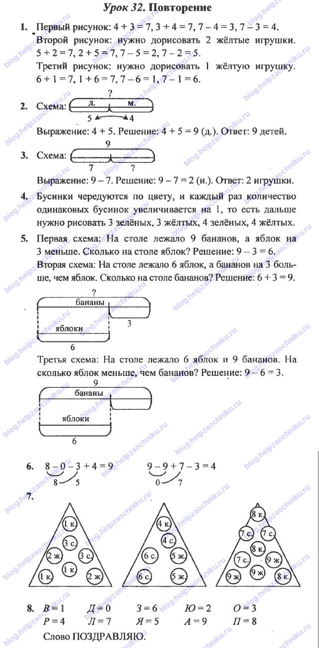 ГДЗ (решебник) математика Л. Г. Петерсон 1 класс 2 часть урок 32