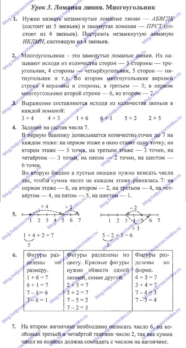ГДЗ (решебник) математика Л. Г. Петерсон 1 класс 2 часть урок 3