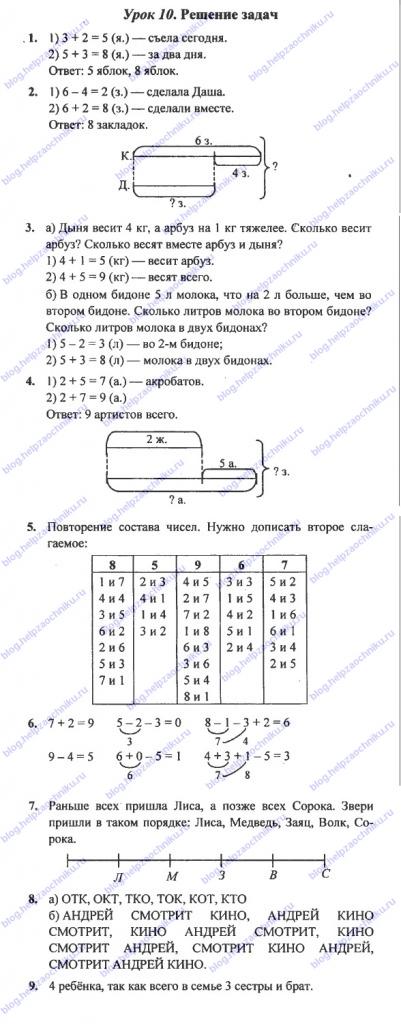 ГДЗ (решебник) математика Л. Г. Петерсон 1 класс 3 часть 10 урок