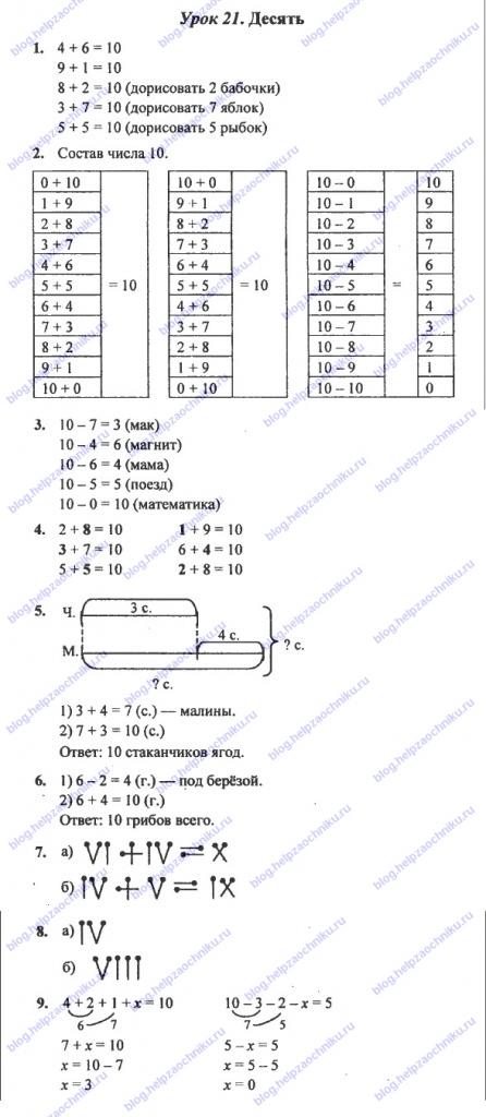 ГДЗ (решебник) математика Л. Г. Петерсон 1 класс 3 часть 21 урок