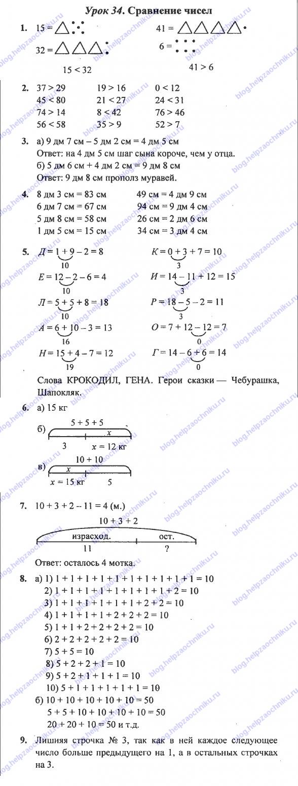 ГДЗ (решебник) математика Л. Г. Петерсон 1 класс 3 часть 34 урок