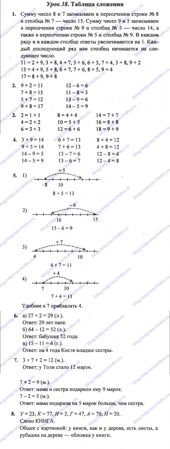 ГДЗ (решебник) математика Л. Г. Петерсон 1 класс 3 часть 38 урок