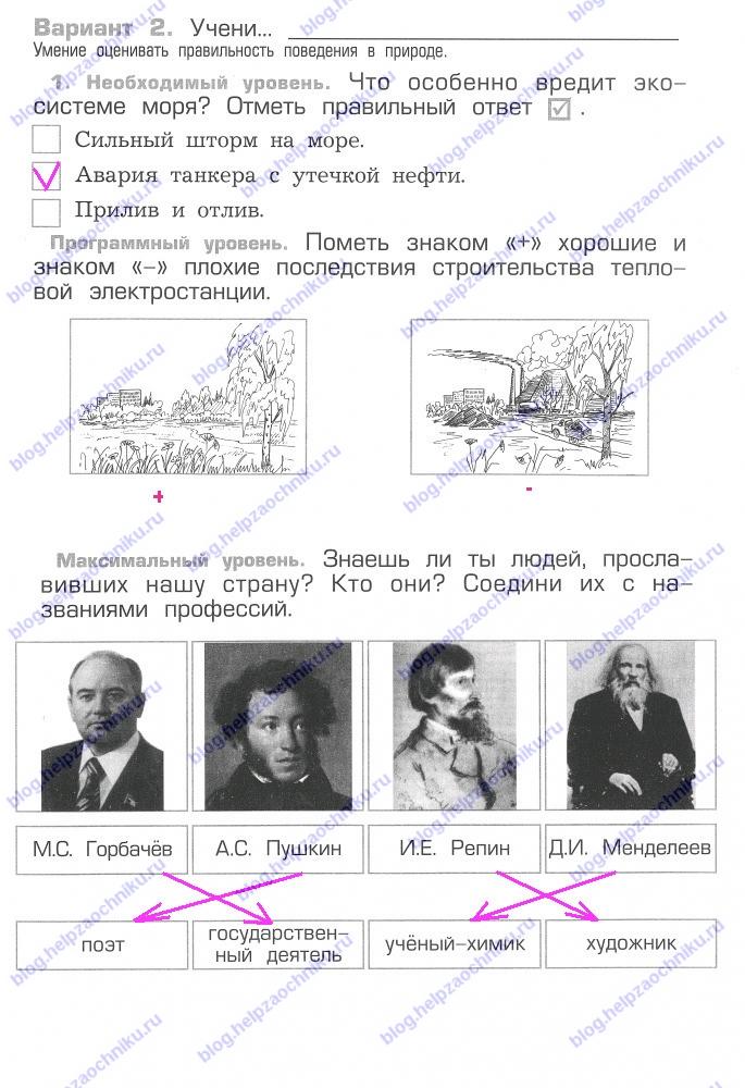 Проверочная работа №13 гдз решебник читать онлайн ответы на Вахрушев А.А. Окружающий мир 2 класс