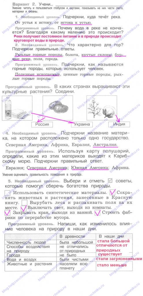 Проверочная работа №7 гдз решебник читать онлайн ответы на Вахрушев А.А. Окружающий мир 2 класс