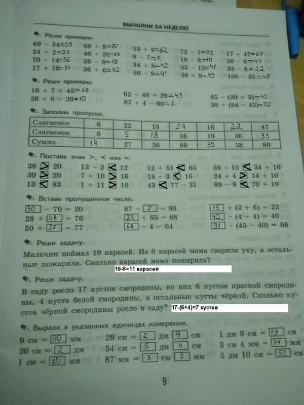 Примеры решебник по математике кузнецова тренировочные 4 ответы класс