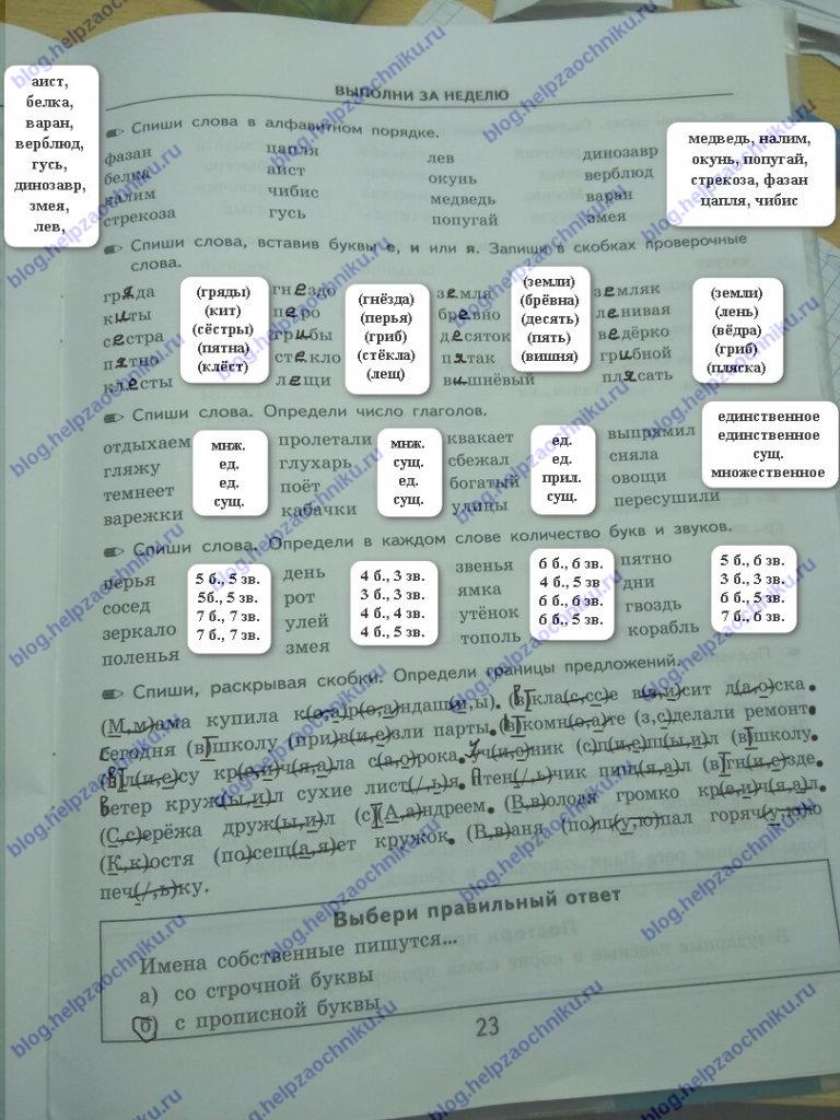 ГДЗ Математика 2 класс Кузнецова (тренировочные примеры по русскому языку стр 23
