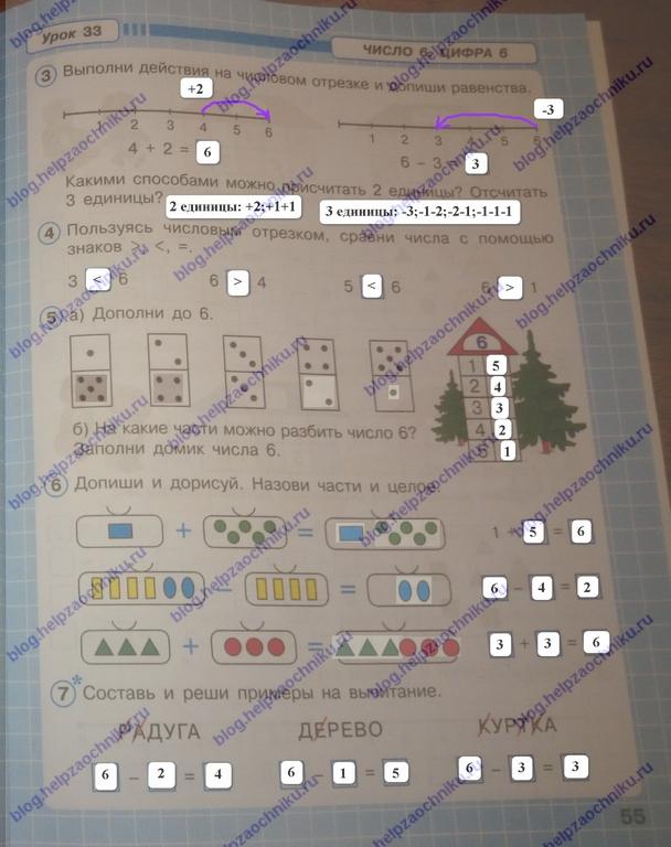 петерсон 1 класс 1 часть рабочая тетрадь ответы, гдз решебник по математике 1 класс петерсон 1 часть ответы 2017-2018 стр.55